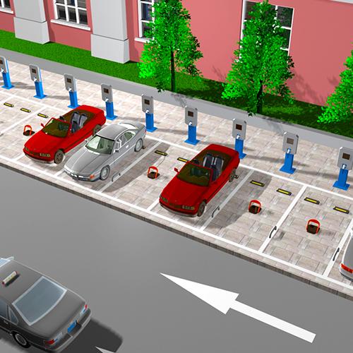 前置控位驻车器联动充电桩使用方案